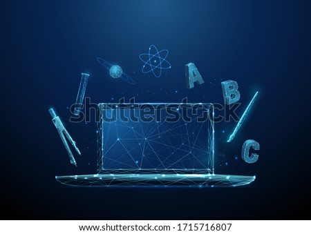 Open laptop with symbols of school subjects - alphabet, chemistry tube, drawing brush, compasses tool. Online learning and distance education concept Low poly style Modern 3d wireframe  graphic Vector