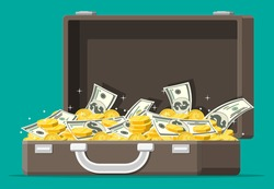 Open leather suitcase full of money. Stacks of dollar banknotes and golden coins in case. Symbol of wealth. Business success. Flat style vector illustration.