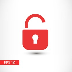 Open lock vector icon