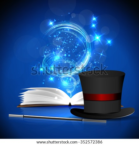 open magic book  magic hat and
