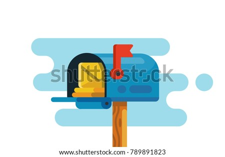 Open mail box with mails. Vector flat