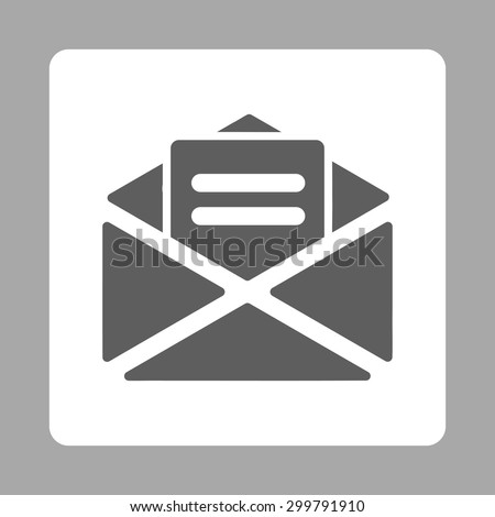 Open mail icon. Vector style is dark gray and white colors, flat rounded square button on a silver background.