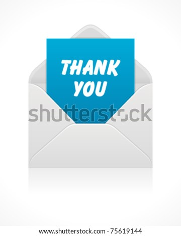 Open mail icon with thank you message . Vector illustration Eps 10.