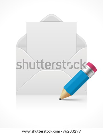 Open mail with blank paper and pencil vector illustration. Eps 10.