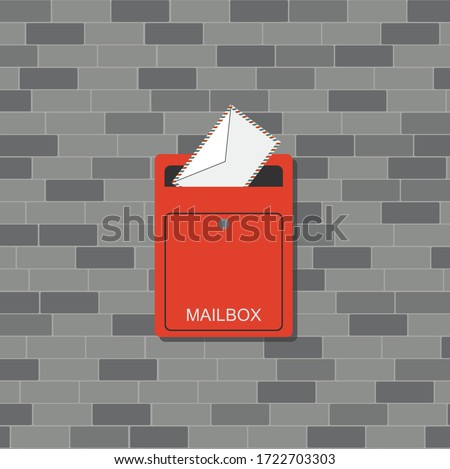 Open mailbox with letter. Red metal postbox on brick wall. Cartoon letterbox for the post. Mail delivery concept banner. Flat Vector illustration Stock photo ©