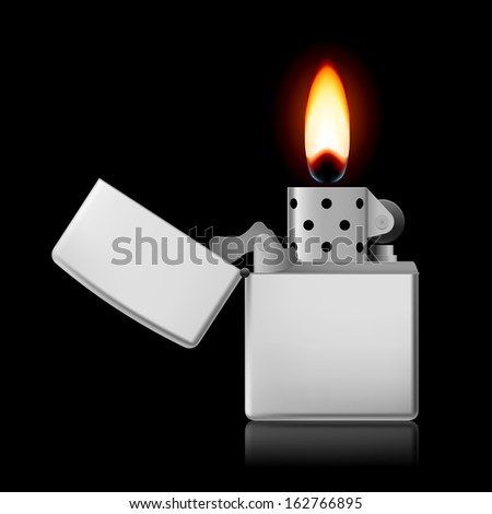 Open metal lighter with flame on black background. - stock vector