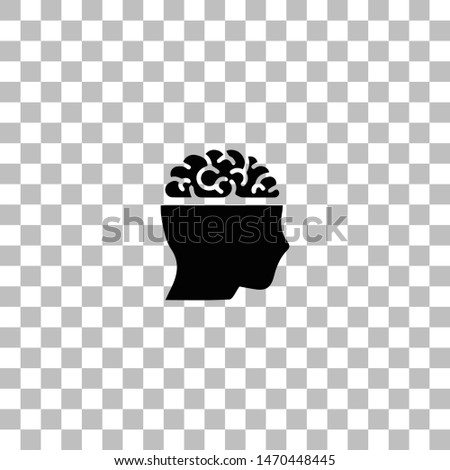 Open mind. Black flat icon on a transparent background. Pictogram for your project