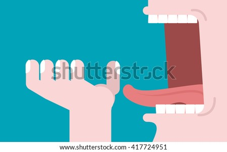 Open mouth and hand. Illustration consumption. Preparation for meal. Man opened his jaws to eat. Teeth and tongue