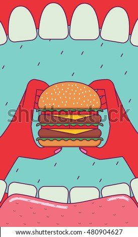 Open mouth and hands holding huge burger. Subjective view perspective. Wide angle.
