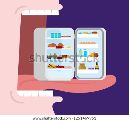 Open mouth to eat full fridge. Tongue and teeth. Glutton Vector Illustration