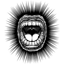 Open mouth with bared teeth and tongue; Screaming singing shouting yawning mouth; Jaw drop; T-shirt print design from vintage tattoo in ink hand drawing retro style; Vector monochrome black and white