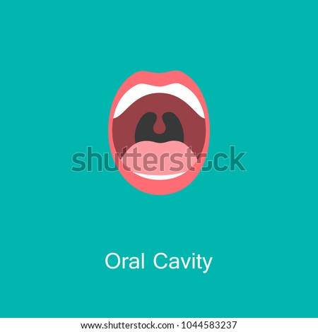 Open Mouth with Teeth and Tongue line icon isolated on background. Dental concept. Symbol of communication. Illustration for info graphics, websites and print media. Vector flat icon.