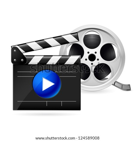 Open movie clapboard and  realistic reel of film