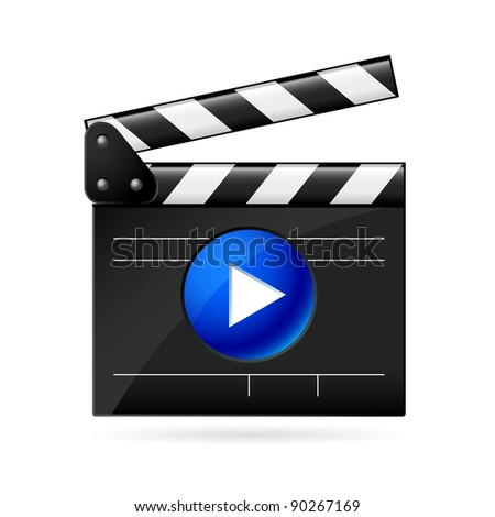 Open movie clapboard on white background. Illustration on white background