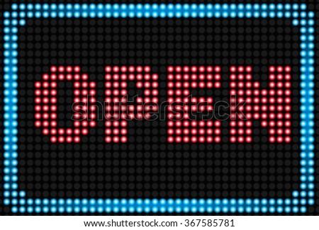 open neon sign backgroundvector