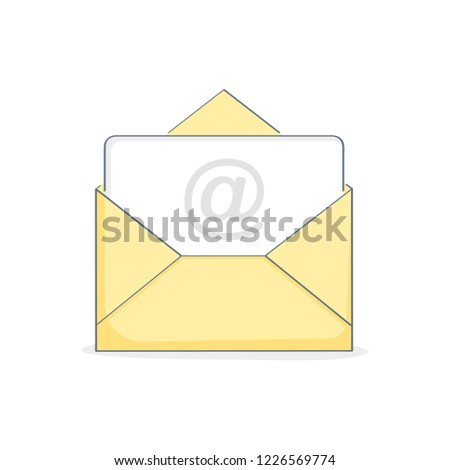 Open New Email, Email, open letter, Inbox message, sms. Mail notification, sending messages via internet, communication, sharing spam, news and information, promotion concept. Flat outline vector.