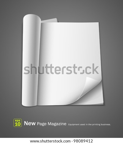 Open new page magazine. equipment used in the printing business. vector illustration