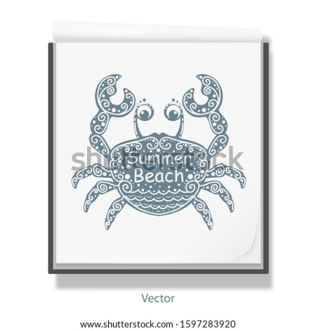 Open notebook for drawing .Sea crab .Summer beach lettering .White sketchbook .Rest, vacation Vector illustration .