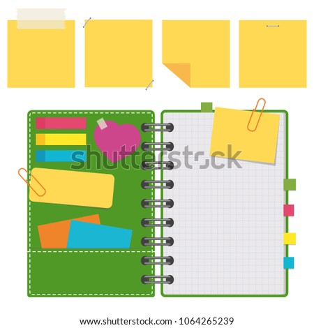 Open notepad with clean sheets on a spiral with bookmarks between the pages. Set of yellow stickers. Colorful flat vector illustration isolated on white background. With space for text or image