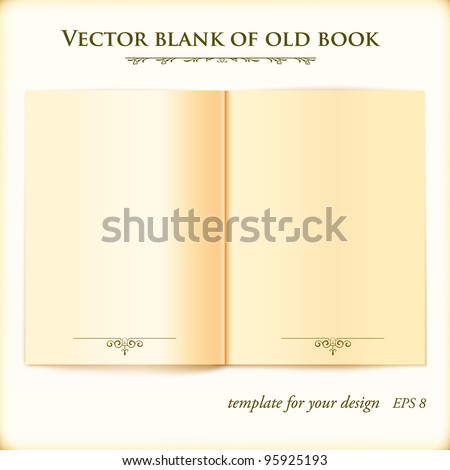 Open Old Book. Vector template for your design.