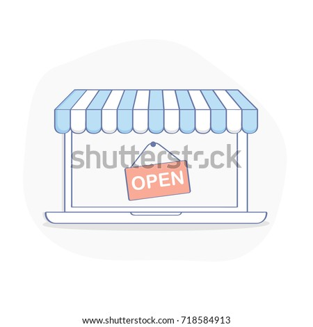 Open Online Shop, storefront on laptop display. Online shopping, E-commerce business, consumerism concept. Flat outline vector illustration in clean design style on white background.