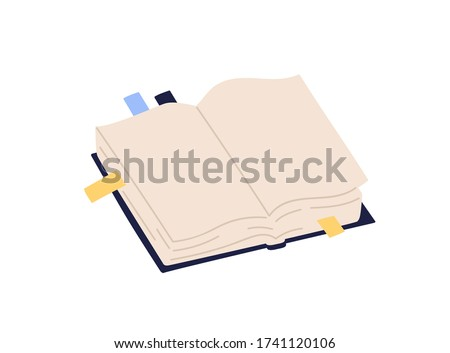 Open paper book with empty pages and colorful bookmarks vector illustration. Colored notebook with stickers isolated on white background. Textbook or organizer in hardcover Сток-фото ©