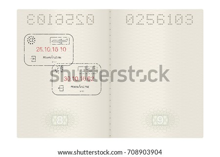 Open passport with Prague, Czech Republic stamps. Vector 3d illustration isolated on white background