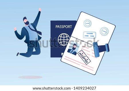 Open passport with stamp as accepted, happy businessman with visa approved document, male character jumping, crossing the border concept, trendy style vector illustration