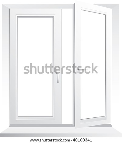 Open plastic glass window - vector