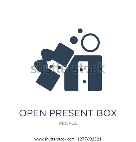 open present box icon vector on white background, open present box trendy filled icons from People collection, open present box vector illustration