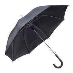 Open rain umbrella in black color. Mockup, template for logo presentation. Realistic vector illustration isolated on white background.