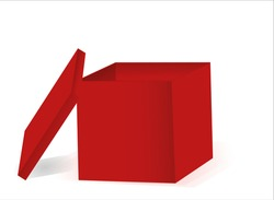 open red box with lid on side vector graphic illustration