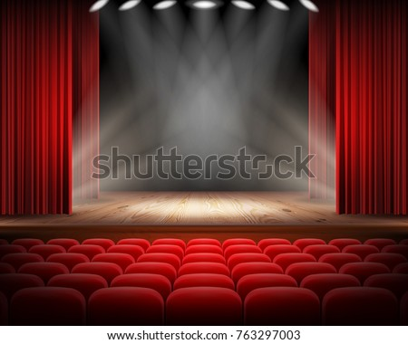 open red curtain and empty...