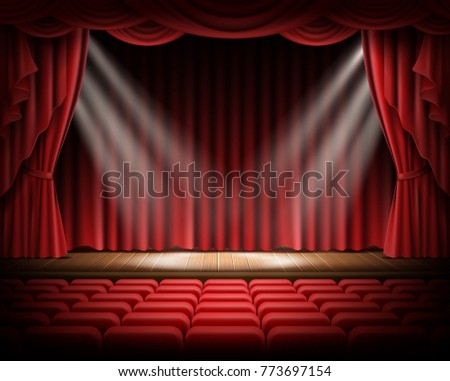 Open red curtain and empty illuminated theatrical scene realistic vector illustration. Grand opening concept, performance or event premiere poster, announcement banner template with theater stage