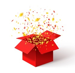 Open Red Gift Box and Confetti. Christmas Background. Vector Illustration.