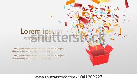 Open Red Gift Box and Confetti. Enter to Win Prizes. Vector Illustration.EPS 10.