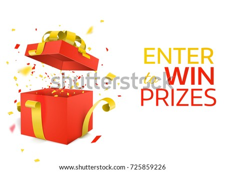 Open Red Gift Box with yellow ribbon  and Confetti explosion. Enter to Win Prizes. Vector Illustration.