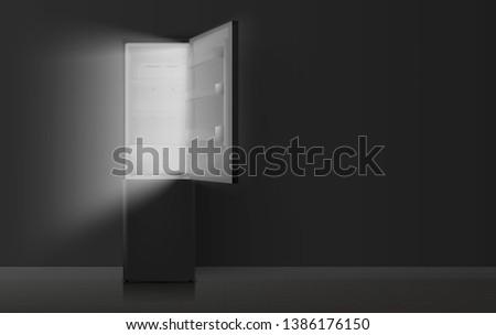 Open refrigerator in kitchen at night. Vector illustration