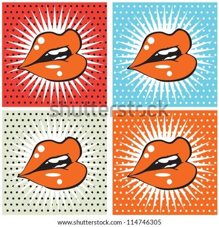 Open Sexy wet  red lips with teeth pop art set backgrounds - stock vector