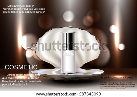 Open shell with pearl with a bottle of cosmetics for skin care. Template advertising, design, poster, and more. Vector illustration.
