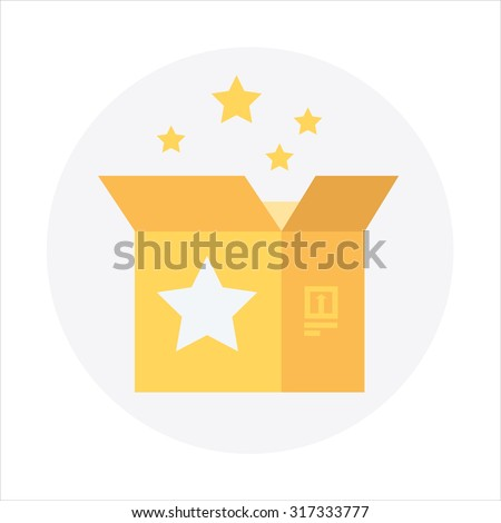Open shipping box with gold stars. Product release, packaging theme, flat style, colorful, vector icon for info graphics, websites, mobile and print media.