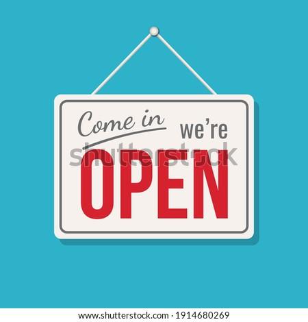Open sign business vector shop icon. We are open door welcome board Сток-фото ©