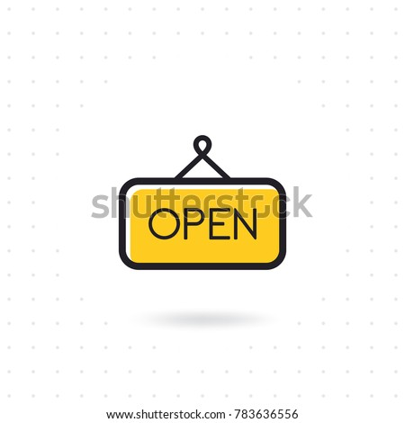 Open sign icon. Vector open door sign. Open icon vector isolated on white background. Open sign line icon for websites, mobile apps, and info graphic. Colored flat line vector illustration