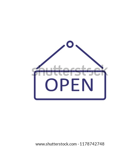 Open sign line icon. Shop, cafe, office. Restaurant concept. Vector illustration can be used for topics like food, business, shopping
