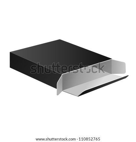 Open Slim Black Carton Box For Medical Product. Vector EPS10