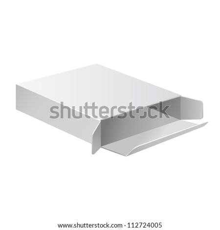 Open Slim White Grayscale Carton Box For Medical Product. Ready For Your Design. Vector EPS10