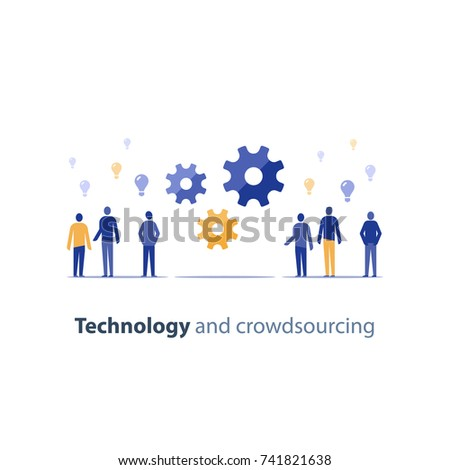 Open source concept, crowd sourcing, innovation technology, tech people meeting, business integration, idea exchange forum, design thinking people, vector icon flat illustration