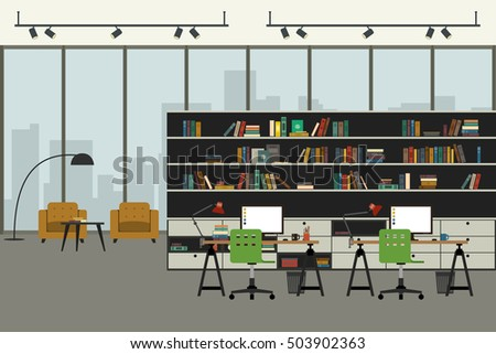 open space office in flat style