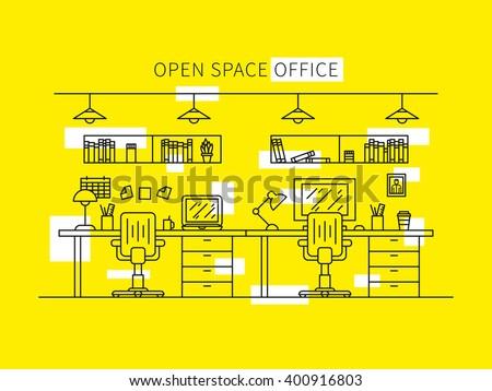 open space office line art