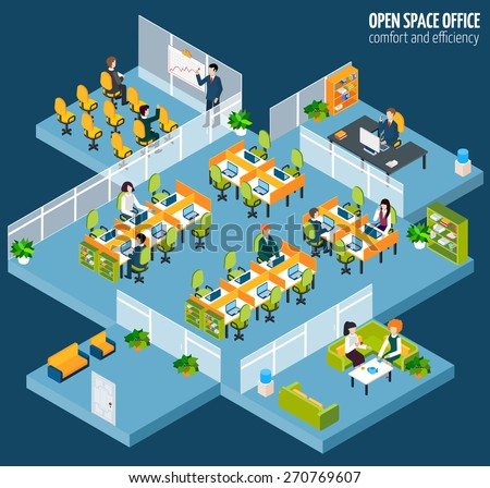 Open space office with isometric business company interior and people vector illustration